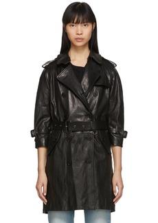 R13 Black Leather Three-Quarter Sleeve Trench Jacket