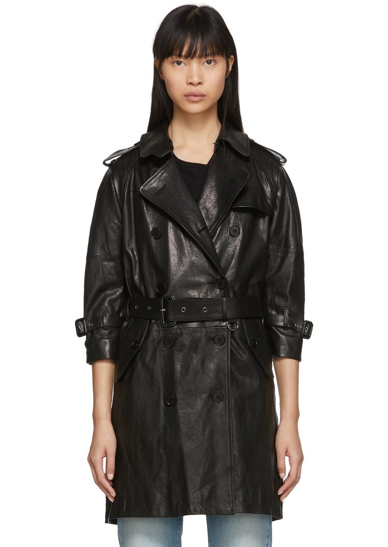 R13 Black Leather Three-Quarter Sleeve Trench Jacket