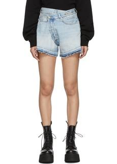 R13 Blue Denim Cross-Over Shorts