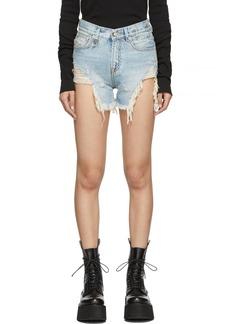 R13 Blue Denim Shredded Slouch Shorts