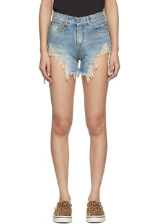 R13 Blue Shredded Slouch Shorts