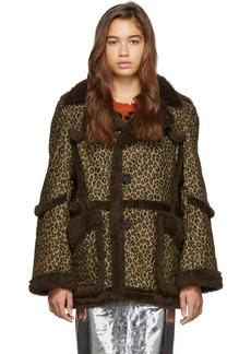 R13 Brown & Tan Imitation Sheepskin Coat