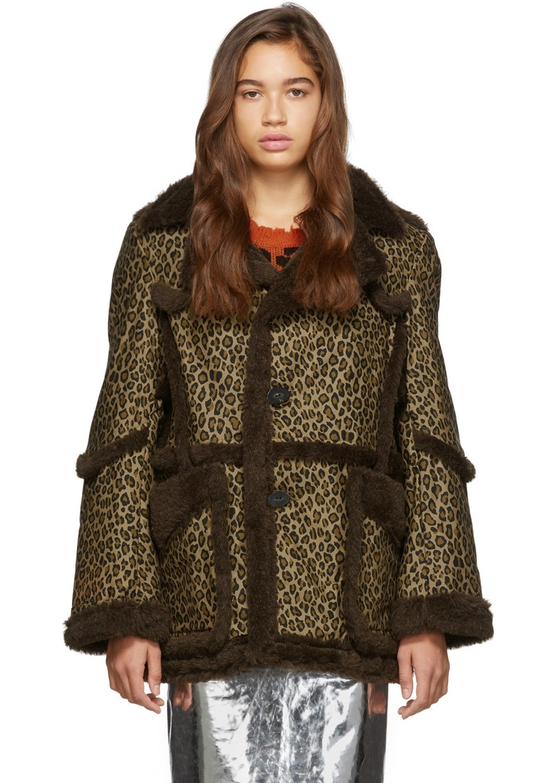 R13 Brown & Tan Imitation Sheepskin Coat