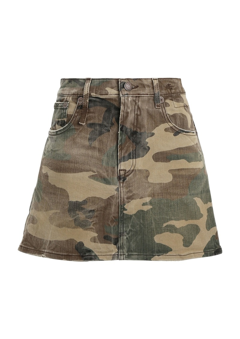 R13 Camouflage Denim Mini Skirt
