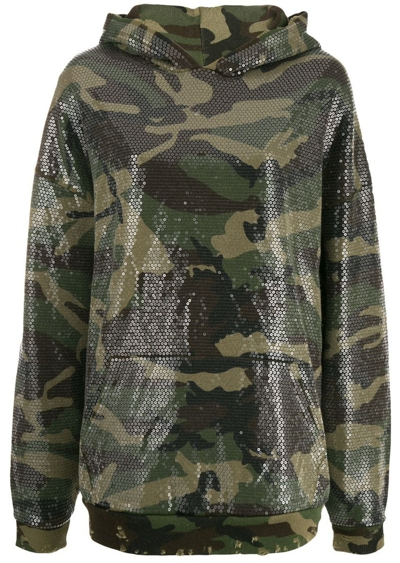 R13 camouflage embroidered hoodie