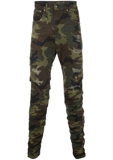 R13 camouflage ripped jeans