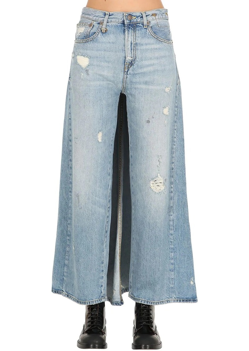 R13 Cotton Denim Jeans W/ Back Skirt Panel