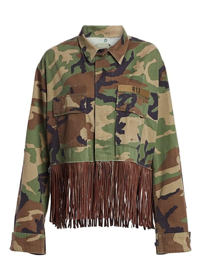R13 Cropped Camo Fringe Jacket