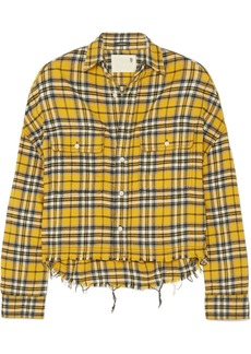 R13 Cropped Checked Cotton-flannel Shirt