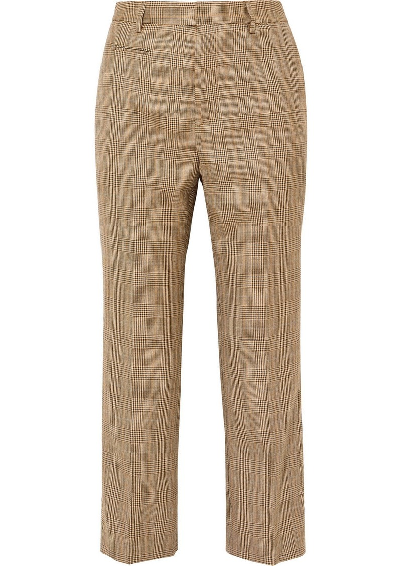 R13 Cropped Leopard Print Voile-trimmed Checked Wool Straight-leg Pants