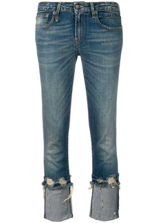 R13 cropped low rise jeans