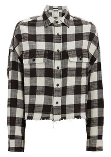 R13 Cropped Plaid Button-Down Shirt