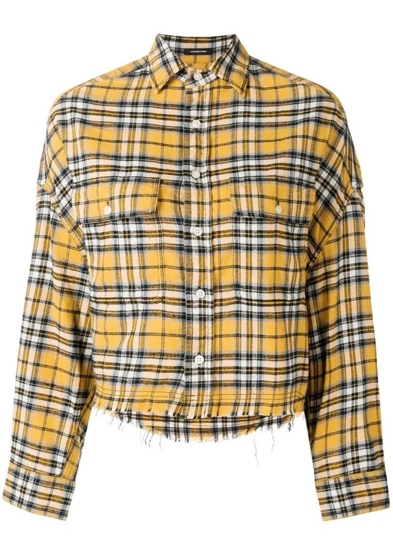 R13 cropped plaid print shirt