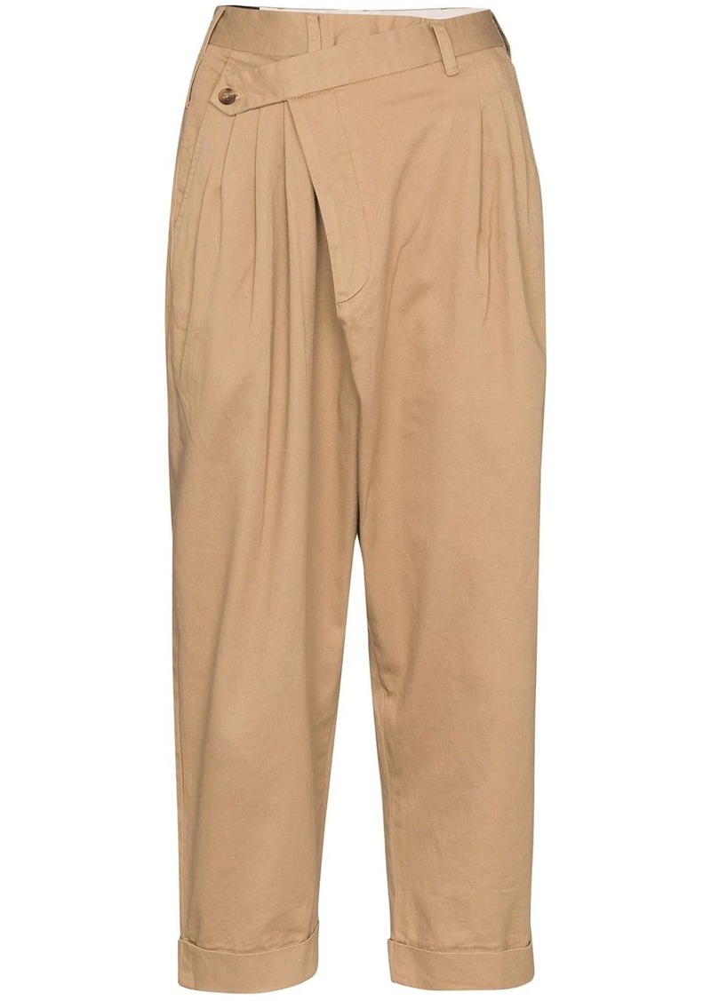 R13 cropped pleated trousers