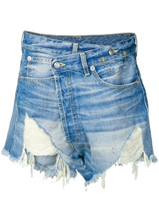 R13 crossover denim shorts