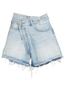 R13 Crossover Distressed Denim Shorts