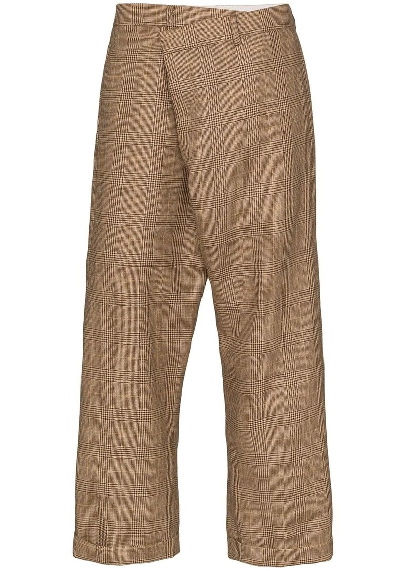 R13 crossover plaid trousers
