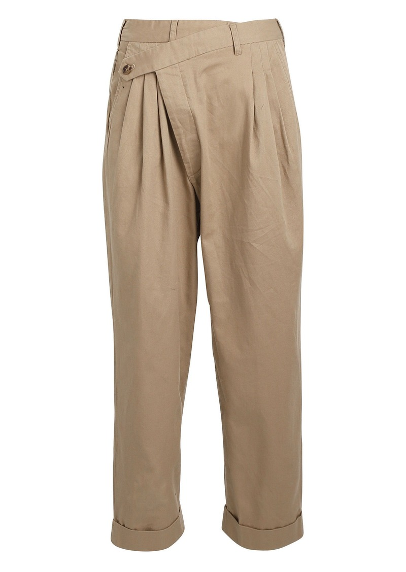 R13 Crossover Pleated Cotton Trousers