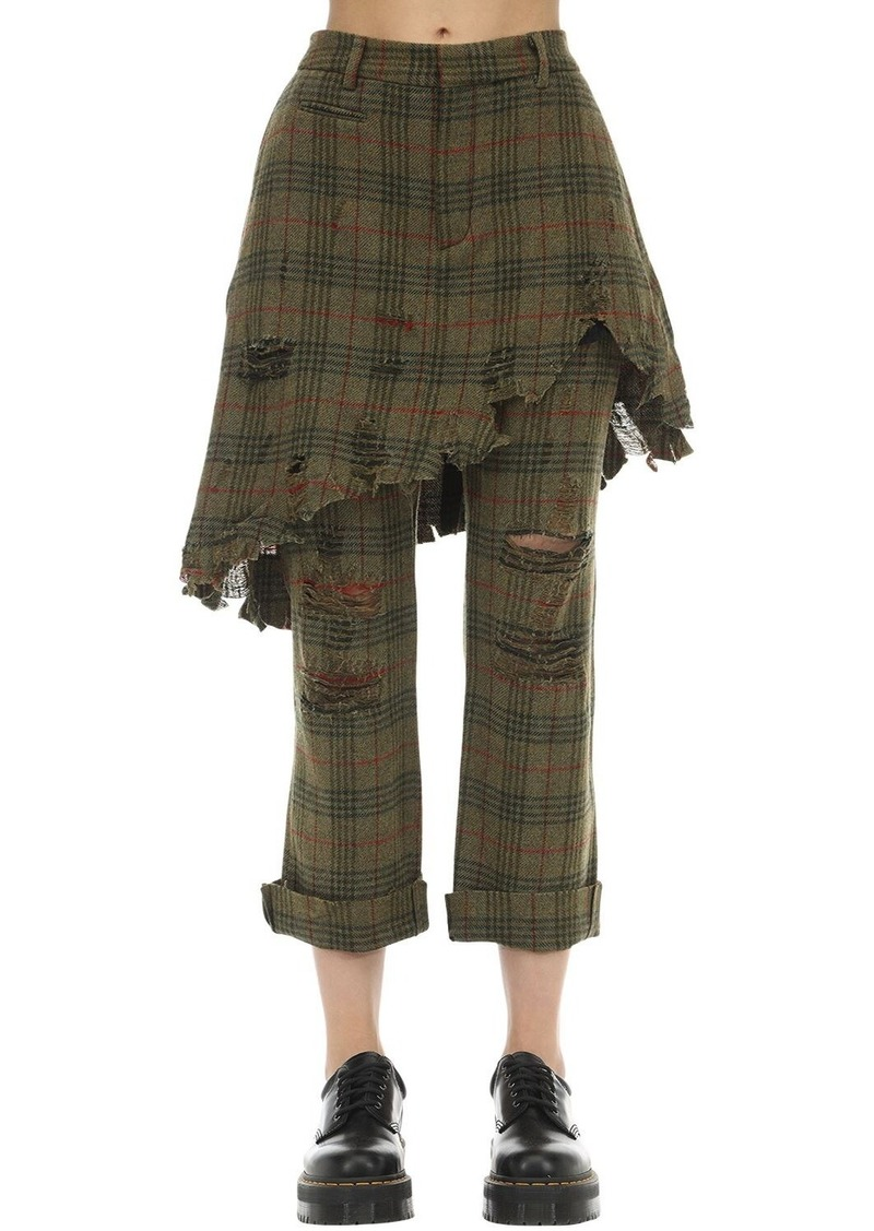 R13 Destroyed Wool Blend Layered Skirt Pants