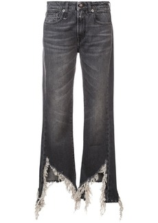 R13 distressed bootcut jeans