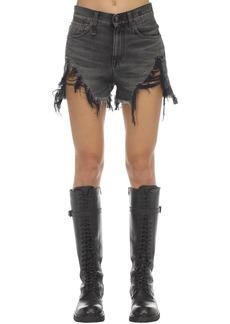 R13 Distressed Cotton Denim Shorts
