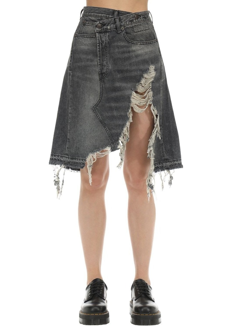 R13 Distressed Crossover Cotton Denim Skirt