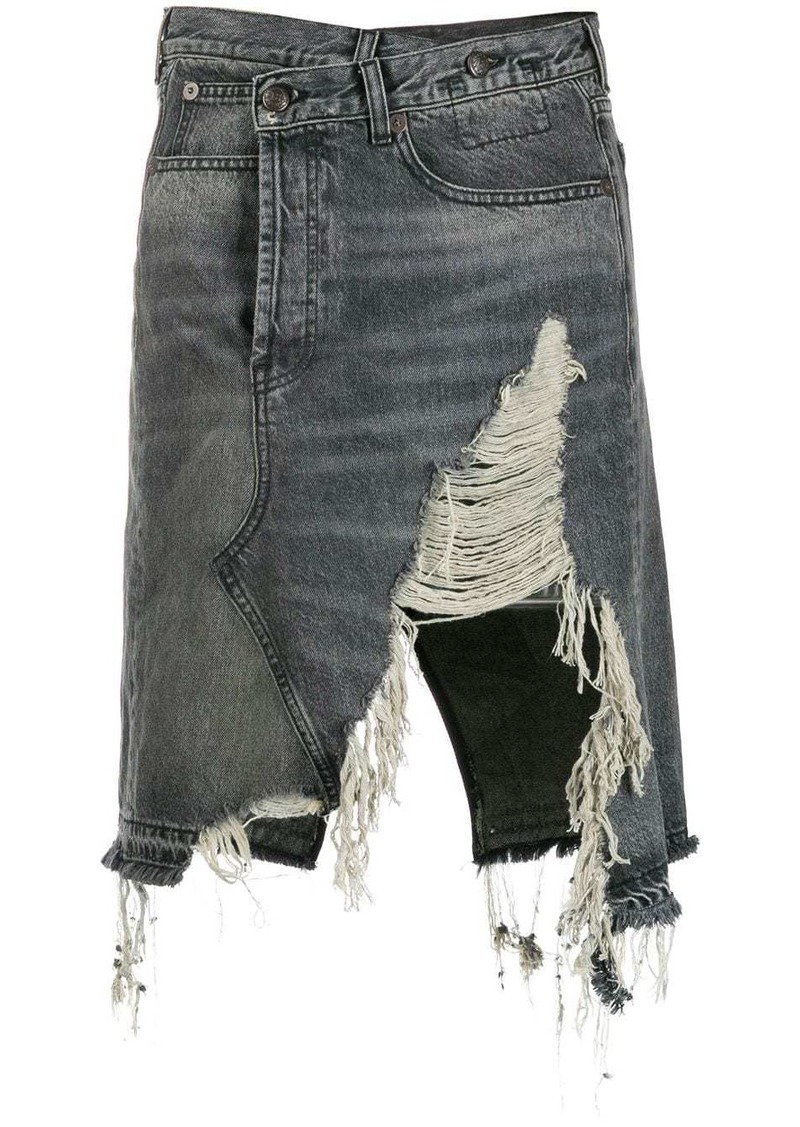 R13 distressed denim skirt