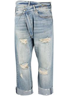 R13 distressed-finish straight-leg jeans