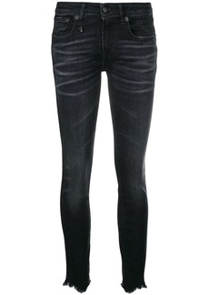 R13 distressed-hem skinny jeans