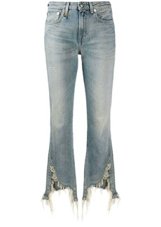 R13 distressed kick flared jeans