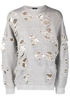 R13 distressed knit cotton-blend jumper
