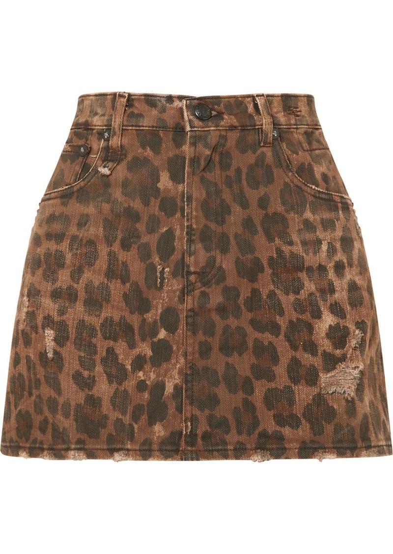 R13 Distressed Leopard-print Denim Mini Skirt