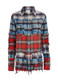 R13 Distressed Plaid Button-Down Shirt