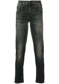 R13 distressed straight leg jeans