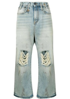 R13 distressed wide-leg cropped jeans
