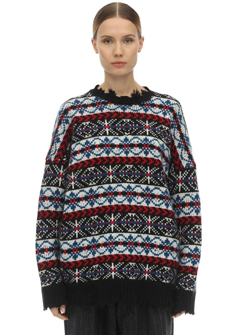 R13 Distressed Wool Intarsia Knit Sweater