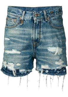 R13 double hem denim shorts