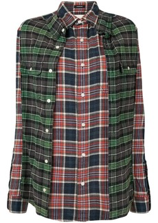 R13 Double reconstructed plaid shirt