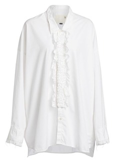 R13 Drop Neck Lace Tuxedo Shirt