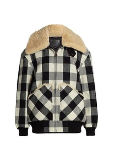 R13 Exaggerated Shearling Collar Plaid Bomber Jacket