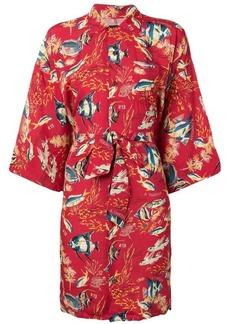 R13 fish print kimono dress