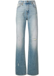 R13 flared distressed jeans