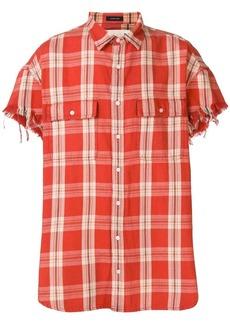 R13 frayed sleeve shirt