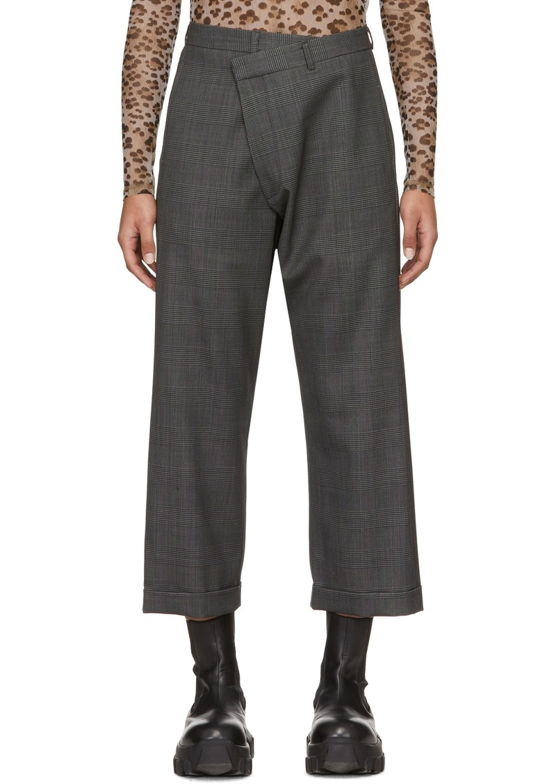 R13 Grey Check Crossover Trousers