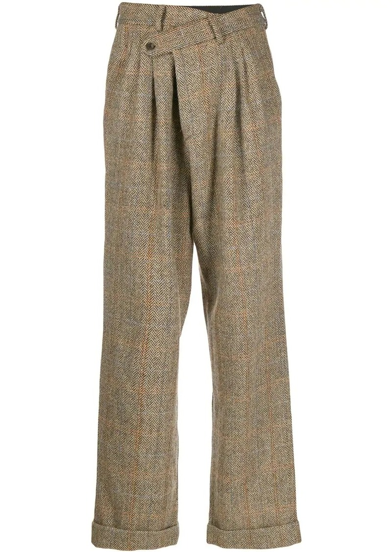 R13 herringbone checked trousers