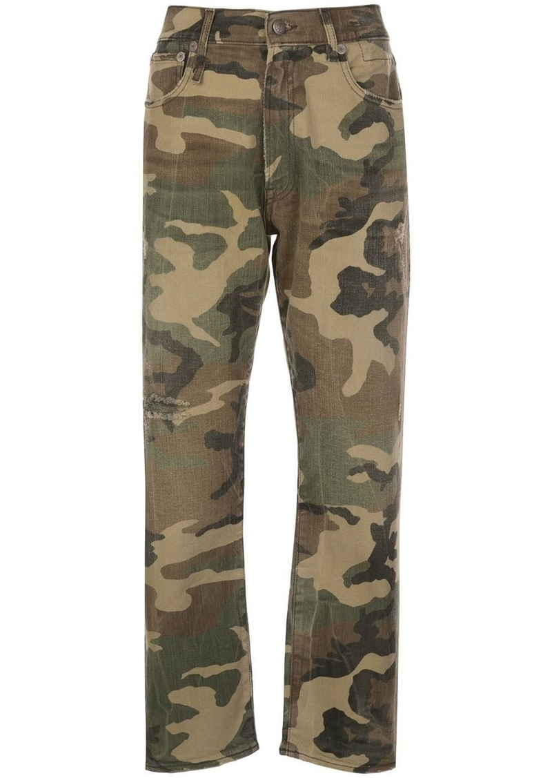 R13 high-rise camouflage cropped trousers