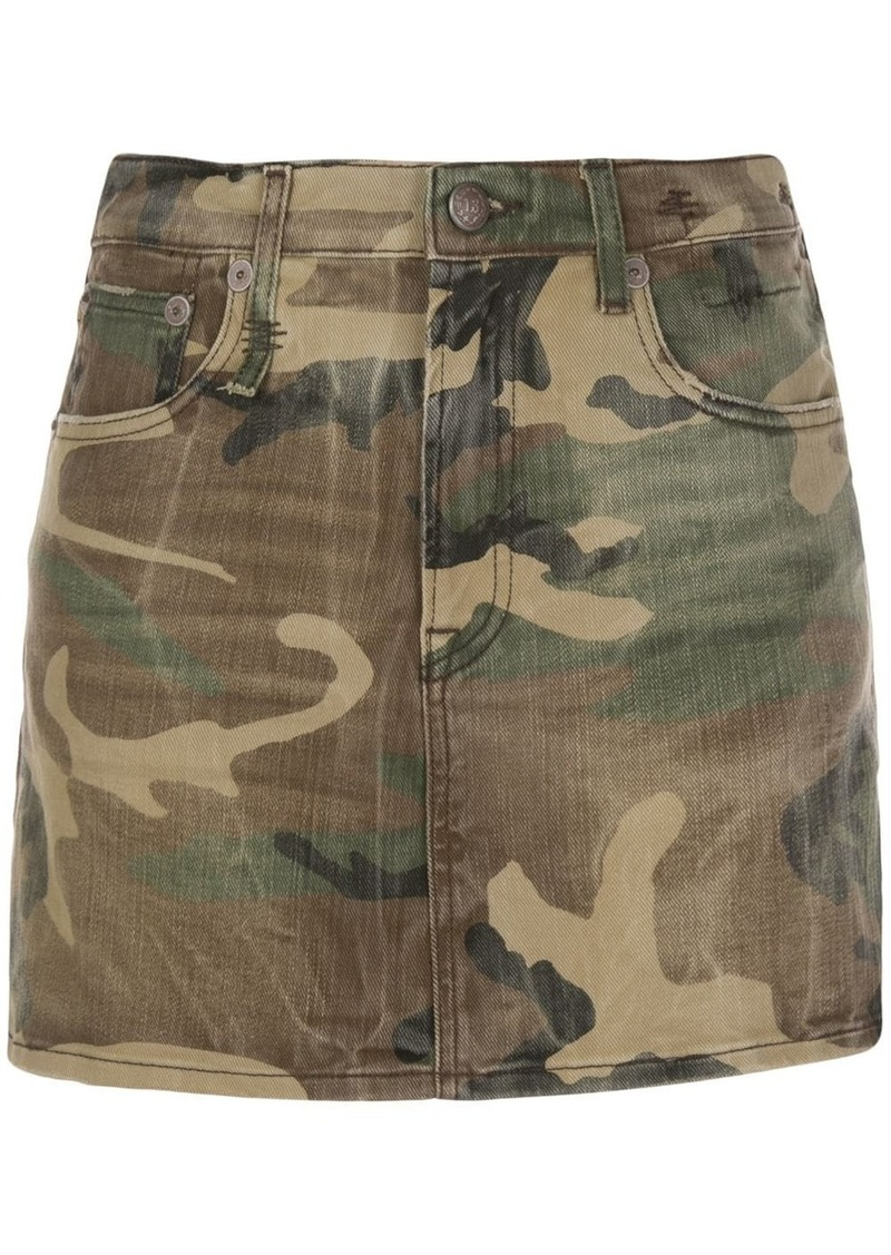 R13 high-rise camouflage mini skirt