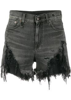 R13 high rise distressed denim shorts