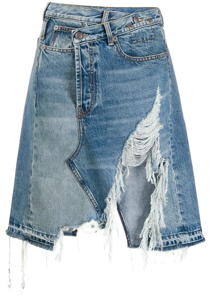 R13 high rise distressed effect denim skirt