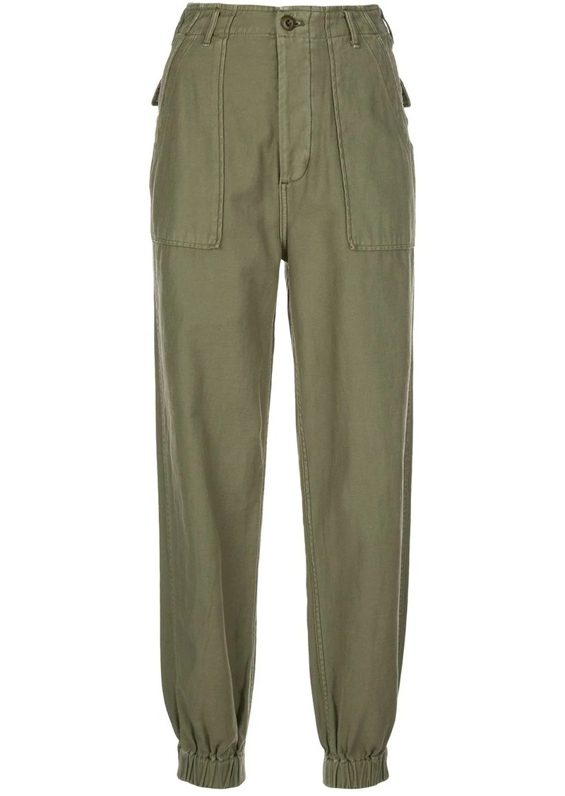 R13 high-rise elasticated-cuff cargo pants